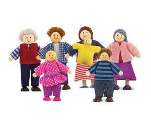 Melissa & Doug 7-Piece Posable Wooden Doll Family for Dollhouse