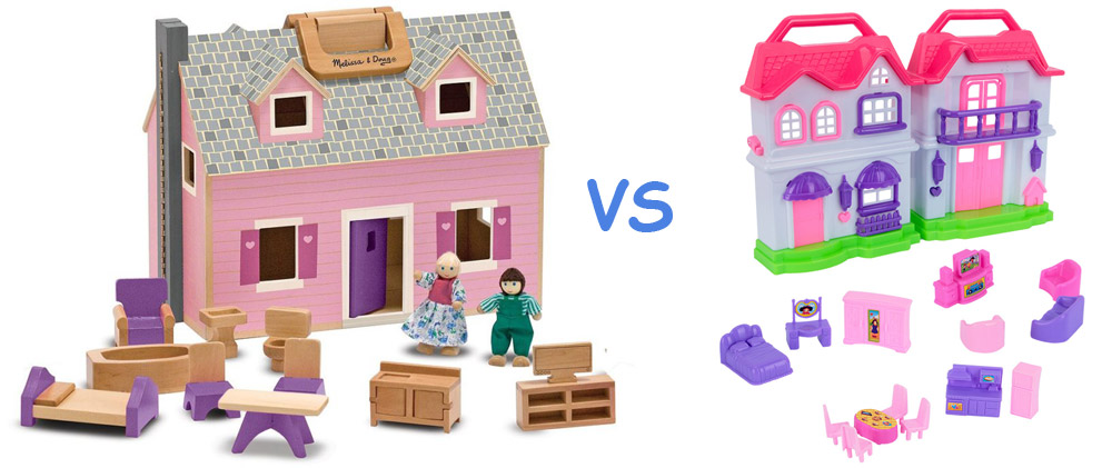 plastic dollhouse vs wooden dollhouse