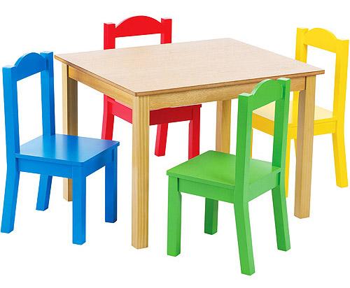 Tot Tutors Kids Wood Table and Chairs Set